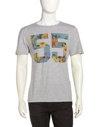 Penguin Floral Print 55 Tee Light Rain Heather