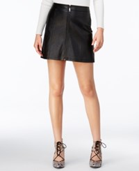 Guess Faux Leather Zip Front Mini Skirt Jet Black