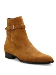 Saint Laurent Wyatt Suede Ankle Boots Red Orange
