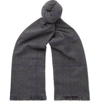 Emma Willis Fringed Prince Of Wales Checked Wool Scarf Gray