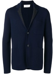 Pringle Of Scotland Knitted Single Breasted Jacket Blue