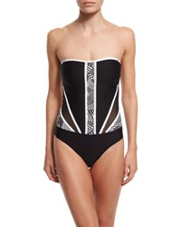Red Carter Mio Colorblock Mesh Panel One Piece Swimsuit Black