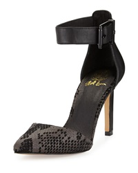 Elliott Lucca Chiara Snake Embossed Ankle Wrap Pump Black