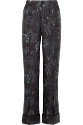 F.R.S For Restless Sleepers Etere Printed Silk Twill Pajama Pants Black
