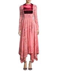 Valentino Long Sleeve Flared Skirt Dress Pink Multi Pink Pattern