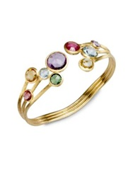 Marco Bicego Jaipur Semi Precious Multi Stone And 18K Yellow Gold Three Row Cuff Bracelet Gold Multi