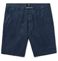 Hugo Boss Slim Fit Linen Shorts Navy