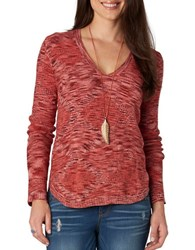Democracy Space Dyed V Neck Sweater Red