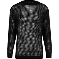 River Island Black Mesh Knit Slim Fit Jumper