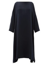 Eskandar Boat Neck Silk Crepe Midi Dress Navy