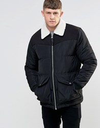 Bellfield Quilted Borg Collar Jacket Black