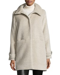 Jane Post Long Sleeve Alpaca Blend Snap Front Coat Women's