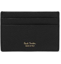 Paul Smith Stripe Trimmed Textured Leather Cardholder Black