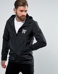 11 Degrees Overhead Windbreaker Jacket In Black Black
