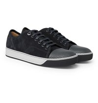 Lanvin Dbb1 Cap Toe Suede And Textured Leather Sneakers Gray