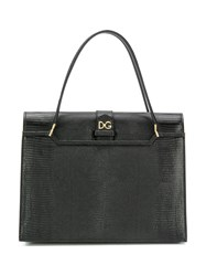 Dolce And Gabbana Logo Plaque Tote Bag Black
