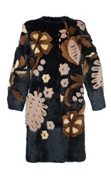 Alberta Ferretti Intarsia Long Mink Fur Coat Multi