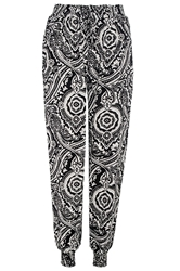 Quiz Black Paisley Print Trousers