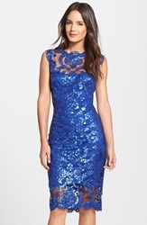 Women's Tadashi Shoji Sequin Illusion Lace Dress Mystic Blue