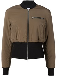 T By Alexander Wang Cropped Bomber Jacket Brown