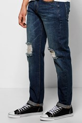 Boohoo Fit Raw Rigid Jeans With Distressing Mid Blue