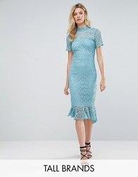 Paper Dolls Tall All Over Lace High Neck Pencil Dress With Frill Hem Green