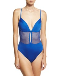 Carmen Marc Valvo Lingerie Mesh V Neck One Piece Swimsuit Blue