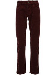 Emporio Armani Relaxed Fit Straight Leg Trousers Red