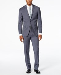 Dkny Men's Blue And Gray Houndstooth Slim Fit Suit Blue Gray