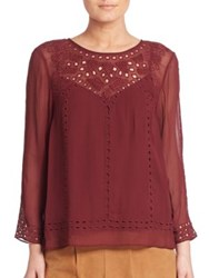 Joie Gaiane Viscose Crepe Embroidered Blouse Raisin