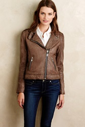 Doma Washed Leather Moto Jacket Brown