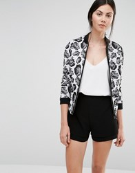 Helene Berman Bomber Jacket In Black And White Rose Jacquard Ivory Black