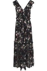 Marissa Webb Viola Ruffled Floral Print Silk Georgette Midi Dress Black