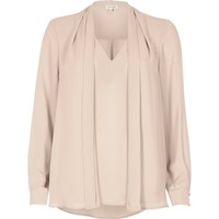 River Island Womens Peach Pink 2 In 1 Blouse