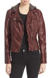Women's Free People Hooded Faux Leather Moto Jacket Red