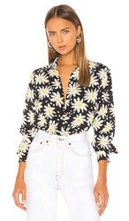 Solid And Striped Button Down Shirt In Black. Graphic Daisy