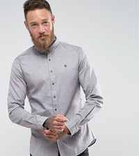 Noose And Monkey Skinny Oxford Shirt Brown