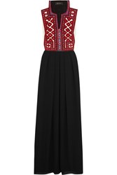 Celia D. Crochet Trimmed Embroidered Crepe De Chine Maxi Dress Black Burgundy