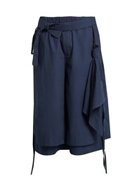 Craig Green Belted Layered Cotton Poplin Shorts Navy