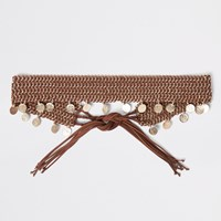 River Island Brown Woven Coin Chain Tie Up Belt