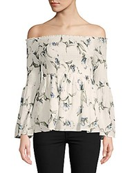 Lucca Couture Eden Floral Off The Shoulder Top White Floral