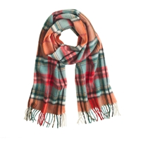 J.Crew Begg And Co.Tm Lambswool Plaid Scarf White Red Green
