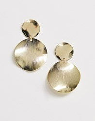 Ny Lon Nylon Hammered Drop Circle Earrings Gold
