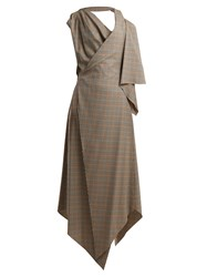 Awake Draped Checked Wool Dress Brown Multi