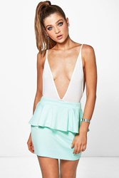 Boohoo Ponte Peplum Mini Skirt Mint