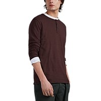 Atm Anthony Thomas Melillo Striped Cotton Jersey Long Sleeve Henley Red