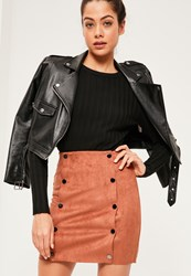 Missguided Orange Faux Suede Double Popper Detail Mini Skirt Camel