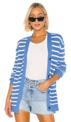 Kule The Royal Cardigan In Blue. Royal And Cream