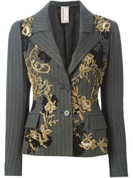 Antonio Marras Bead Embroidery Fitted Blazer Grey