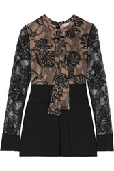 Alexis Moya Lace And Cotton Blend Crepe Playsuit Black